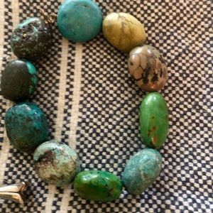 Real turquoise chunky bracelet green and blue